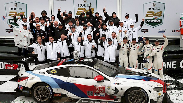Daytona, 27th January, IMSA WeatherTech Sportscar Championship 2019, Rolex 24 at Daytona, Daytona International Speedway, Daytona, FL (USA). Winner Team pictures BMW M8 GTE #25 Colton Herta (USA), Connor De Phillippi (USA), Augusto Farfus (BRA), Philipp Eng (AUT) and BMW Team RLL